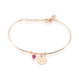 Bracelet Jonc Melys Argent Rose Oxyde De Zirconium - Bracelets Coeur Femme | Histoire d'Or