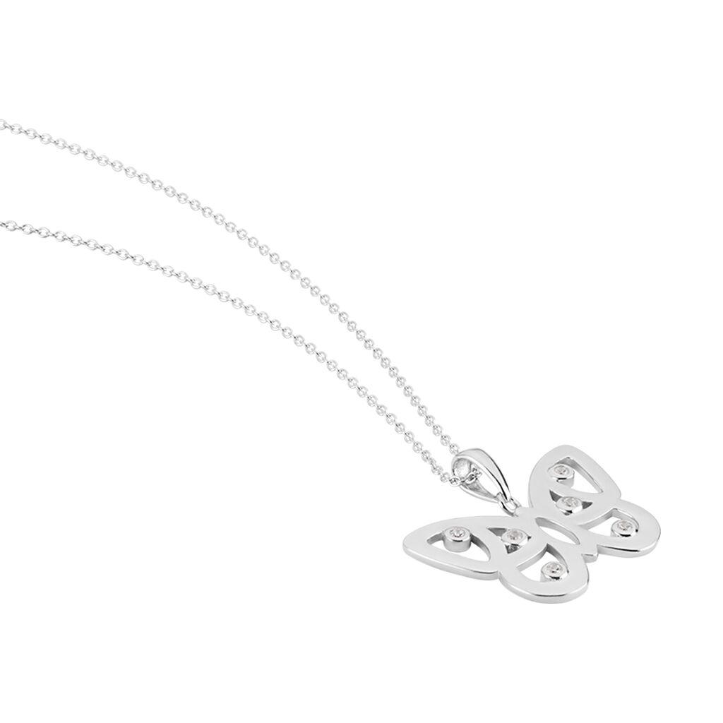 Collier Mauro Argent Rhodie Oxydes De Zirconium - Colliers Papillon Femme | Histoire d'Or