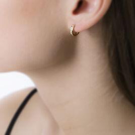 Créoles Ivria Or Jaune Oxyde De Zirconium - Boucles d'Oreilles Coeur Femme | Histoire d'Or