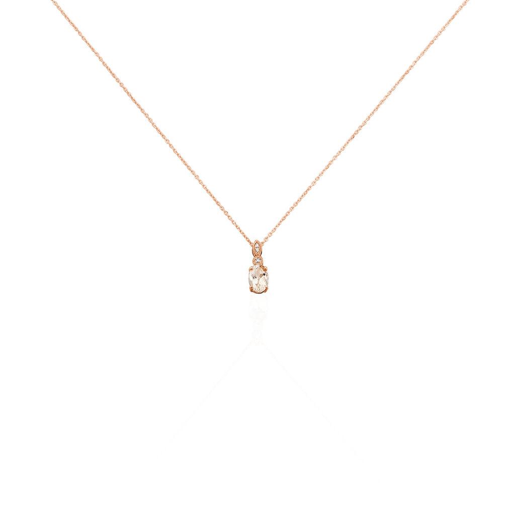 Collier Antonia Or Rose Morganite Et Oxyde De Zirconium - Bijoux Femme   Histoire d'Or