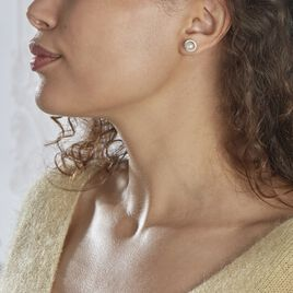 Boucles D'oreilles Puces Mathie Argent Blanc Perle De Culture Et Oxyde - Boucles d'oreilles fantaisie Femme | Histoire d'Or