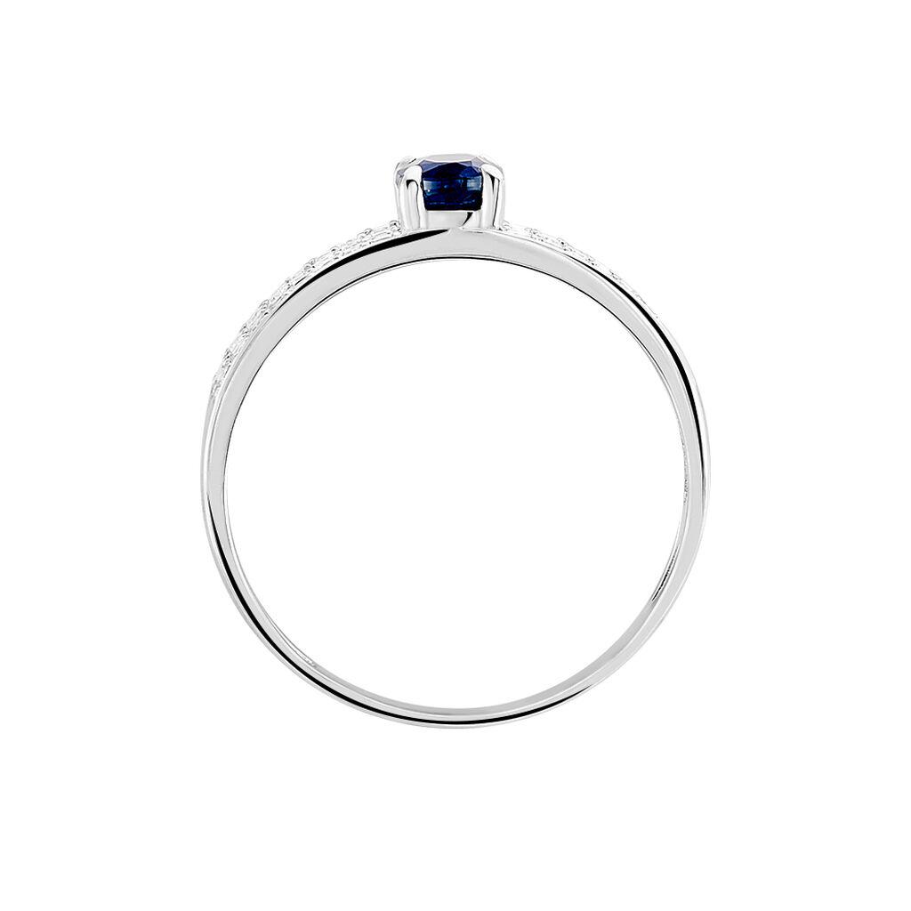 Bague Siracuse Or Blanc Saphir Et Diamant - Bagues avec pierre Femme | Histoire d'Or