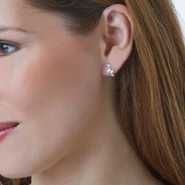 Boucles D'oreilles Puces Clara Or Blanc Oxyde De Zirconium - Clous d'oreilles Femme | Histoire d'Or