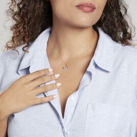 Pendentif Coeur Penche Double Or Bicolore Oxyde De Zirconium - Pendentifs Coeur Femme   Histoire d'Or