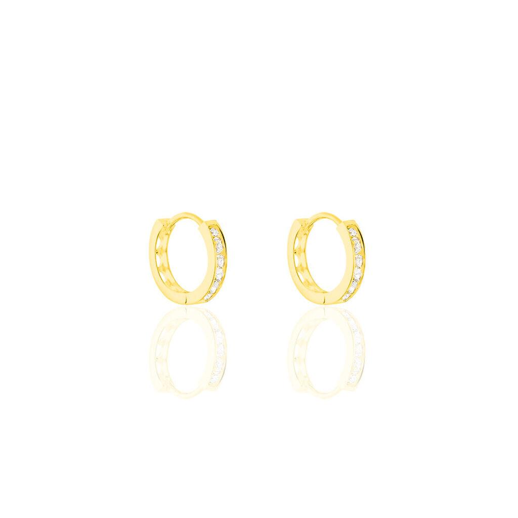 Créoles Ivria Or Jaune Oxyde De Zirconium - Boucles d'Oreilles Coeur Femme   Histoire d'Or