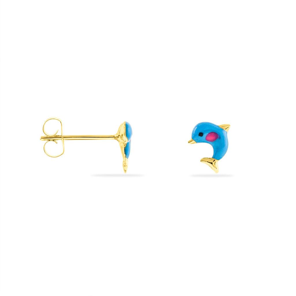 Boucles D'oreilles Puces Mael Dauphin Or Jaune - Clous d'oreilles Enfant | Histoire d'Or