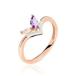Bague Iana Or Rose Amethyste Et Quartz Et Diamant - Bagues avec pierre Femme | Histoire d'Or