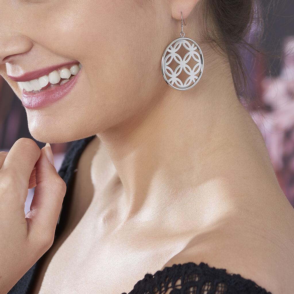 Boucles D'oreilles Pendantes Danyl Acier Blanc - Boucles d'oreilles fantaisie Femme   Histoire d'Or