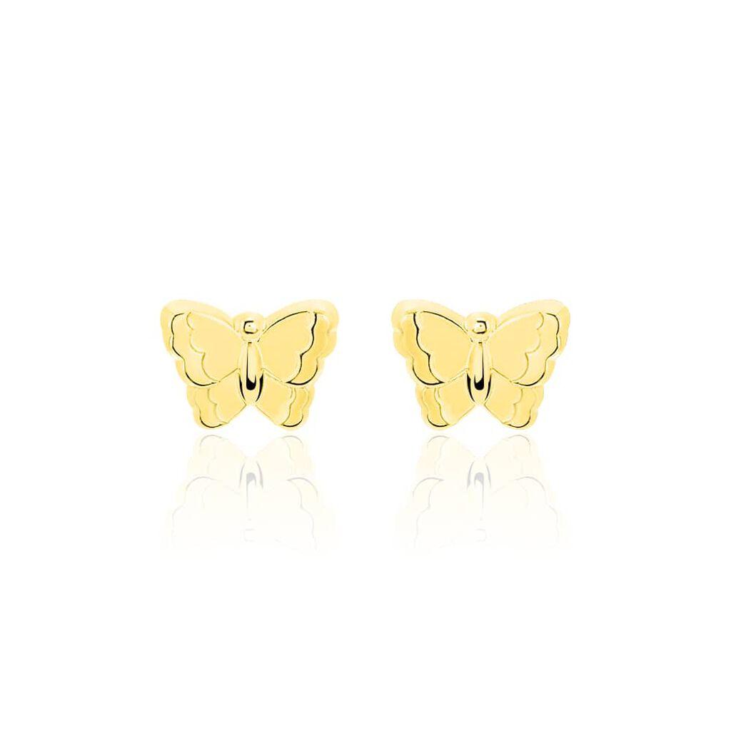Boucles D'oreilles Puces Bartholomée Papillon Or Jaune - Boucles d'Oreilles Papillon Femme   Histoire d'Or