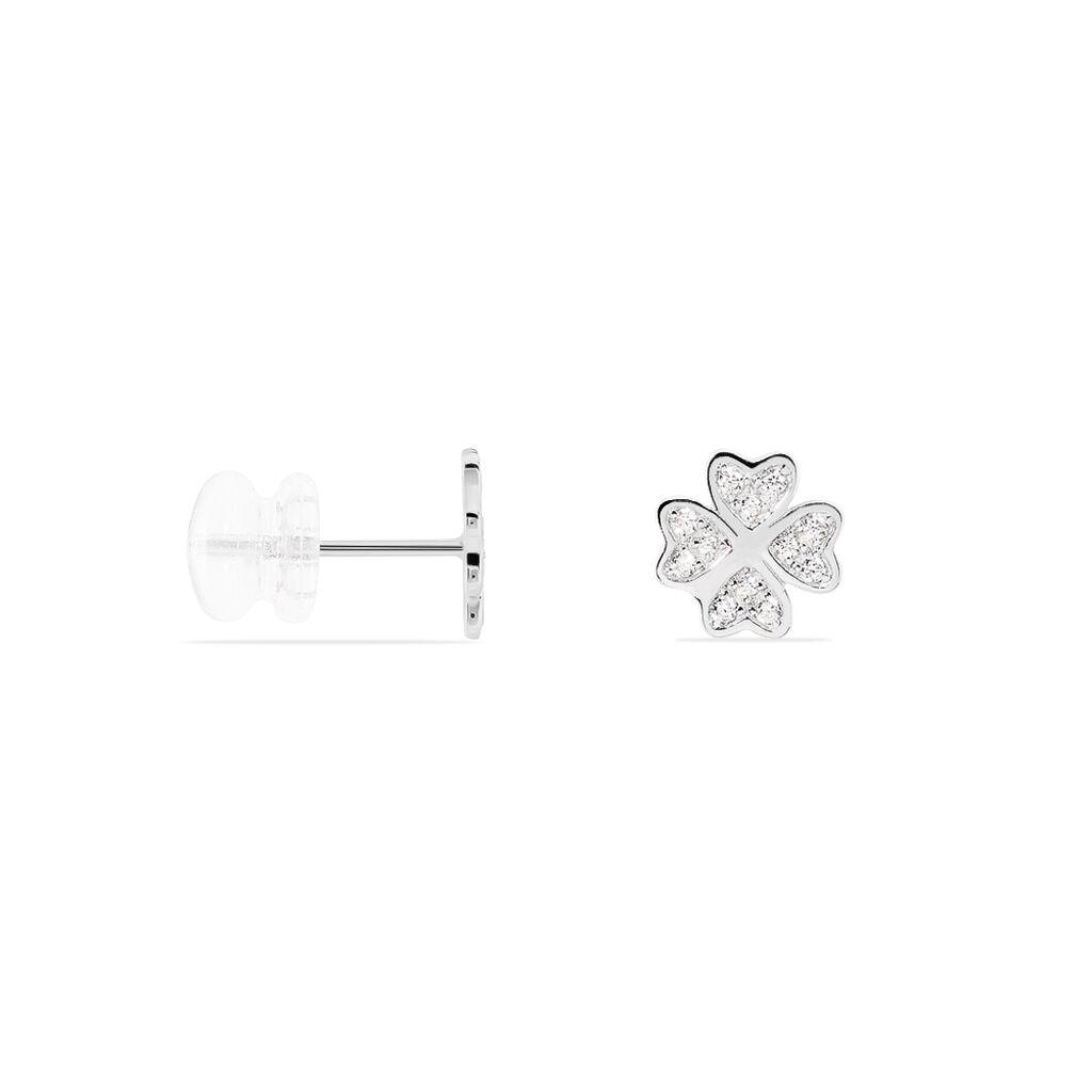 Boucles D'oreilles Puces Lilie Or Blanc Oxyde De Zirconium - Boucles d'Oreilles Trèfle Femme | Histoire d'Or