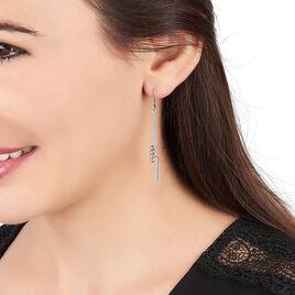 Boucles D'oreilles Pendantes Eucleia Argent Blanc - Boucles d'oreilles fantaisie Femme | Histoire d'Or