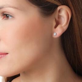 Boucles D'oreilles Puces Karen Or Blanc Diamant - Clous d'oreilles Femme | Histoire d'Or