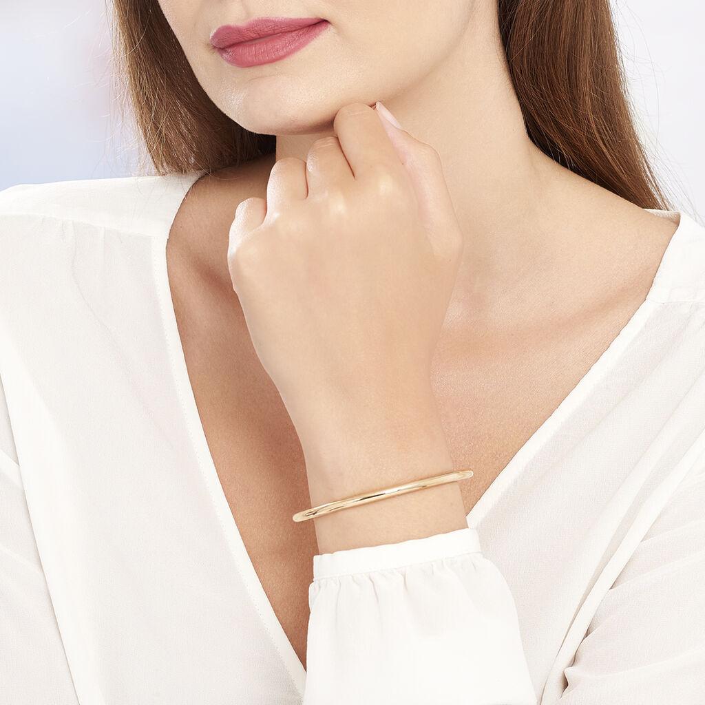 Bracelet Jonc Louliaae Plaque Or Jaune - Bracelets fantaisie Femme   Histoire d'Or