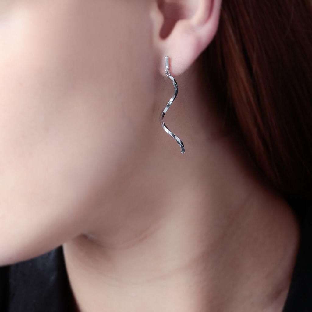 Boucles D'oreilles Puces Sarah-lisaae Torsade Or Blanc - Boucles d'oreilles pendantes Femme | Histoire d'Or