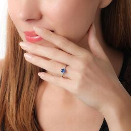 Bague Solitaire Briony Or Blanc Saphir Et Diamant - Bagues avec pierre Femme   Histoire d'Or