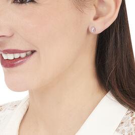 Boucles D'oreilles Puces Elea Serti Griffe Or Jaune Amethyste - Clous d'oreilles Femme | Histoire d'Or