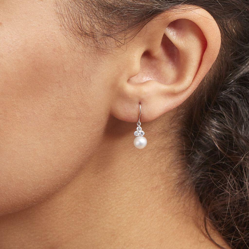 Boucles D'oreilles Pendantes Taissia Or Blanc Perle Culture Et Oxyde - Boucles d'oreilles pendantes Femme   Histoire d'Or