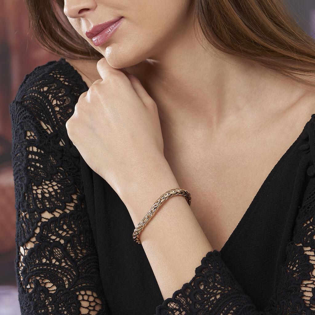 Bracelet Avelyne Maille Palmier Plaque Or Jaune - Bracelets chaîne Femme   Histoire d'Or