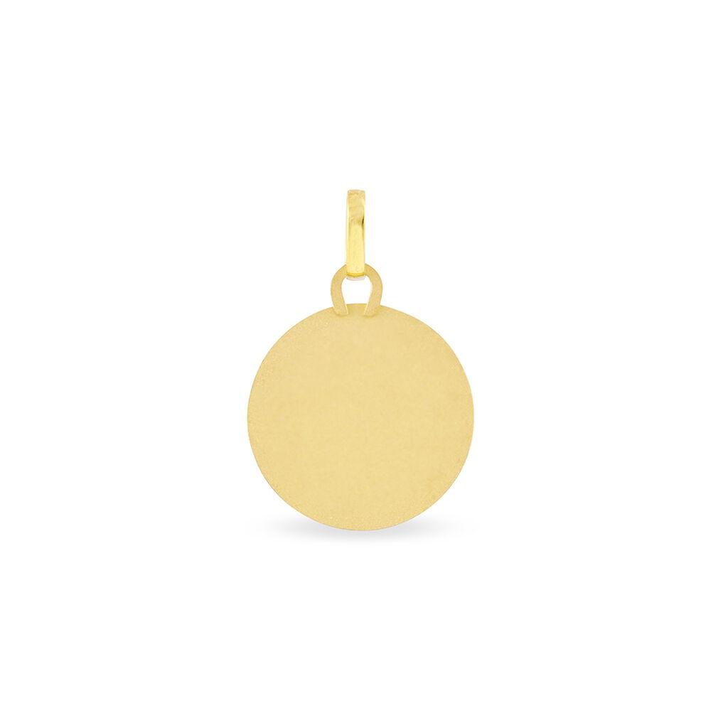 Pendentif Vierge Rond Diamante Or Jaune - Bijoux Vierge Unisexe | Histoire d'Or