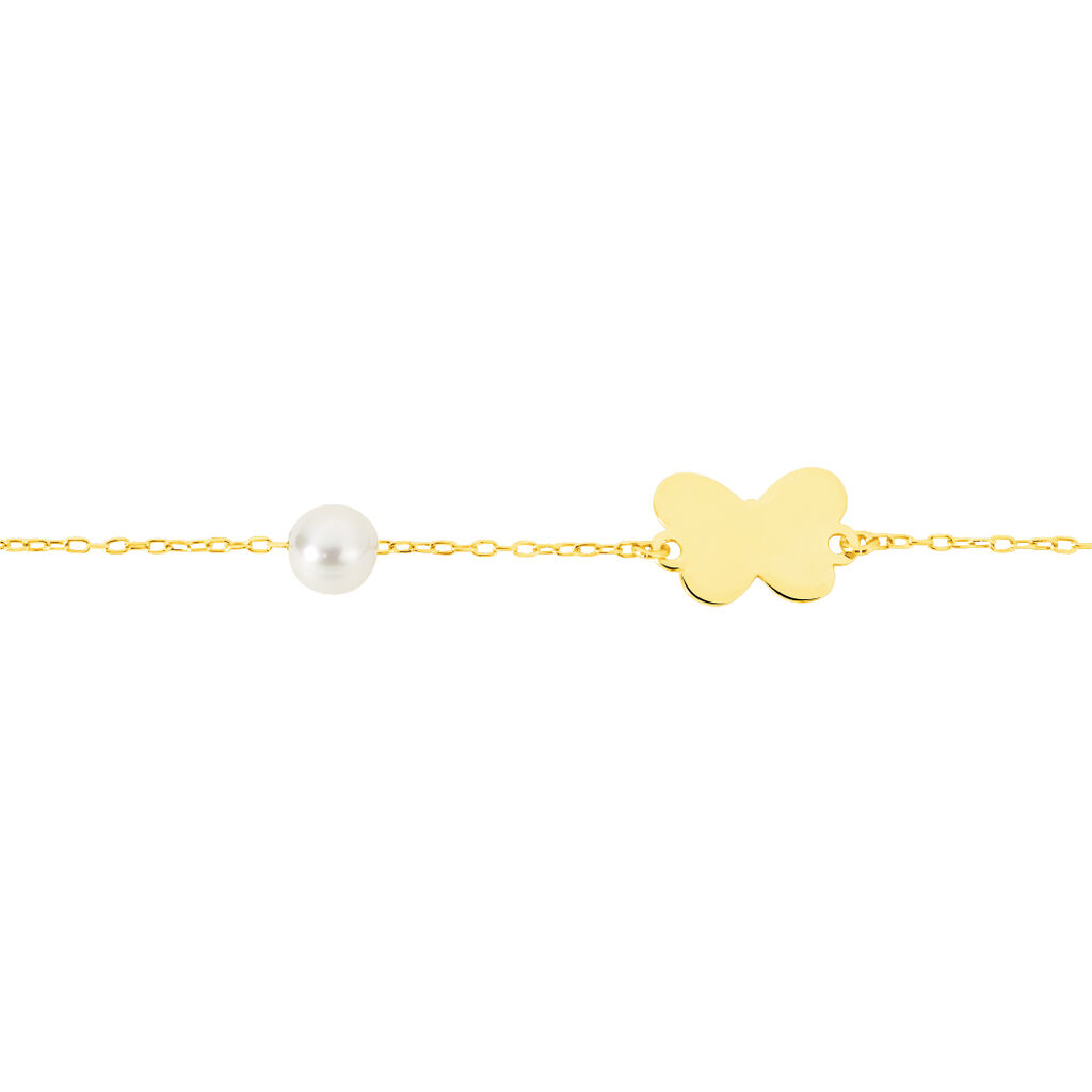 Bracelet Aurida Papillon Or Jaune Perle De Culture