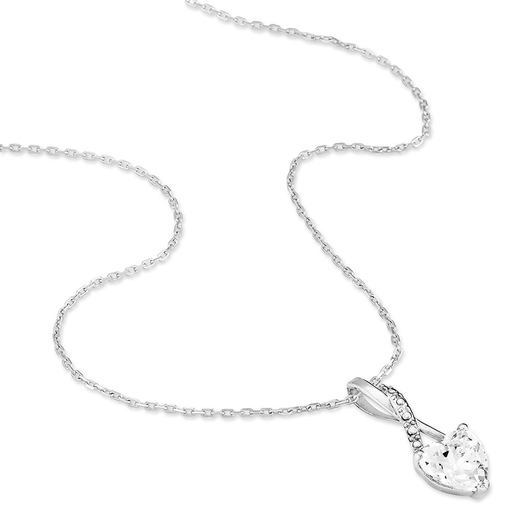 Collier Akli Or Blanc Oxyde De Zirconium - Colliers Coeur Femme | Histoire d'Or