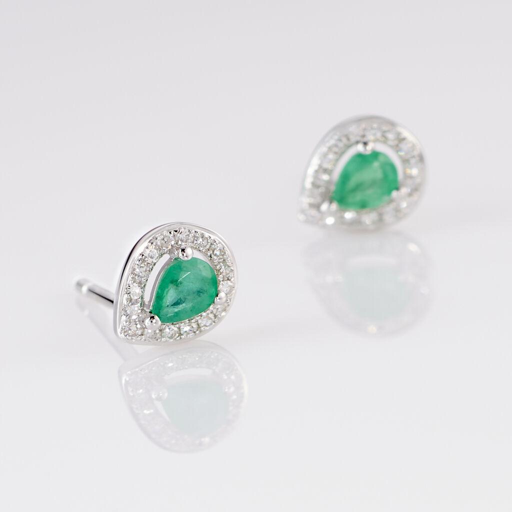 Boucles D'oreilles Puces Elheme Or Blanc Emeraude Et Diamant - Clous d'oreilles Femme | Histoire d'Or