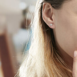 Boucles D'oreilles Puces Eden Or Blanc Oxyde De Zirconium - Boucles d'Oreilles Etoile Femme | Histoire d'Or