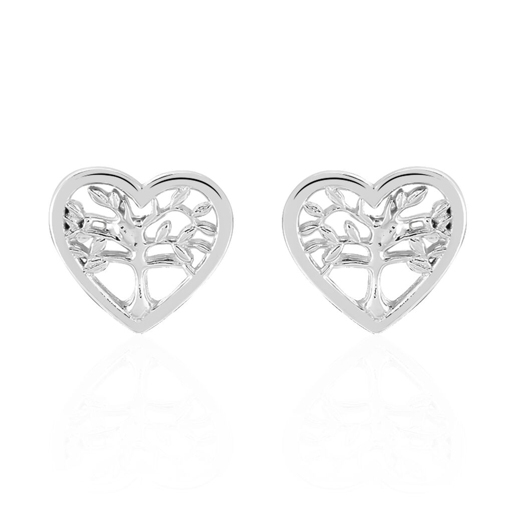 Boucles D'oreilles Pendantes Elwenn Argent Blanc - Boucles d'Oreilles Arbre de vie Femme | Histoire d'Or