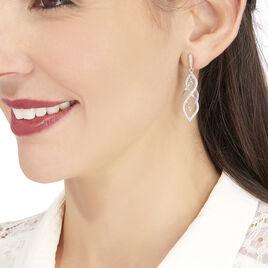 Boucles D'oreilles Pendantes Malika Argent Blanc Oxyde De Zirconium - Boucles d'oreilles pendantes Femme | Histoire d'Or