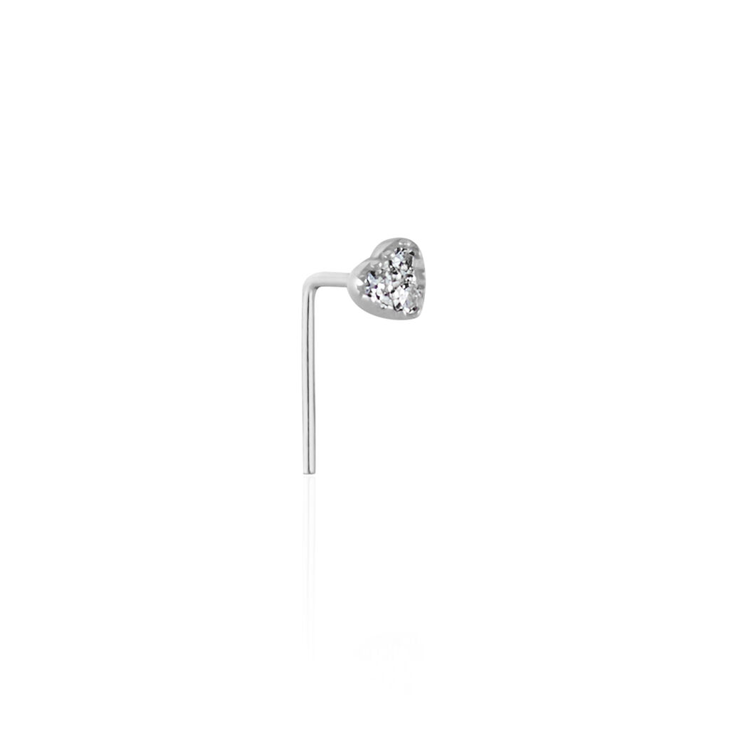 Piercing De Nez Demetrie Or Blanc Diamant - Bijoux Coeur Femme   Histoire d'Or