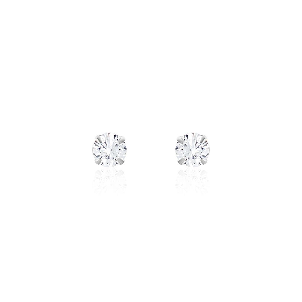 Boucles D'oreilles Puces Laena Argent Blanc Oxyde De Zirconium - Boucles d'oreilles fantaisie Femme | Histoire d'Or
