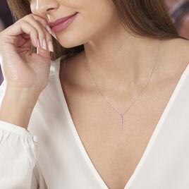Collier Jezabel Or Blanc Diamant - Colliers Croix Femme | Histoire d'Or