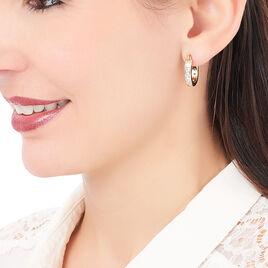 Créoles Doryne Plaque Or Jaune Oxyde De Zirconium - Boucles d'oreilles créoles Femme | Histoire d'Or