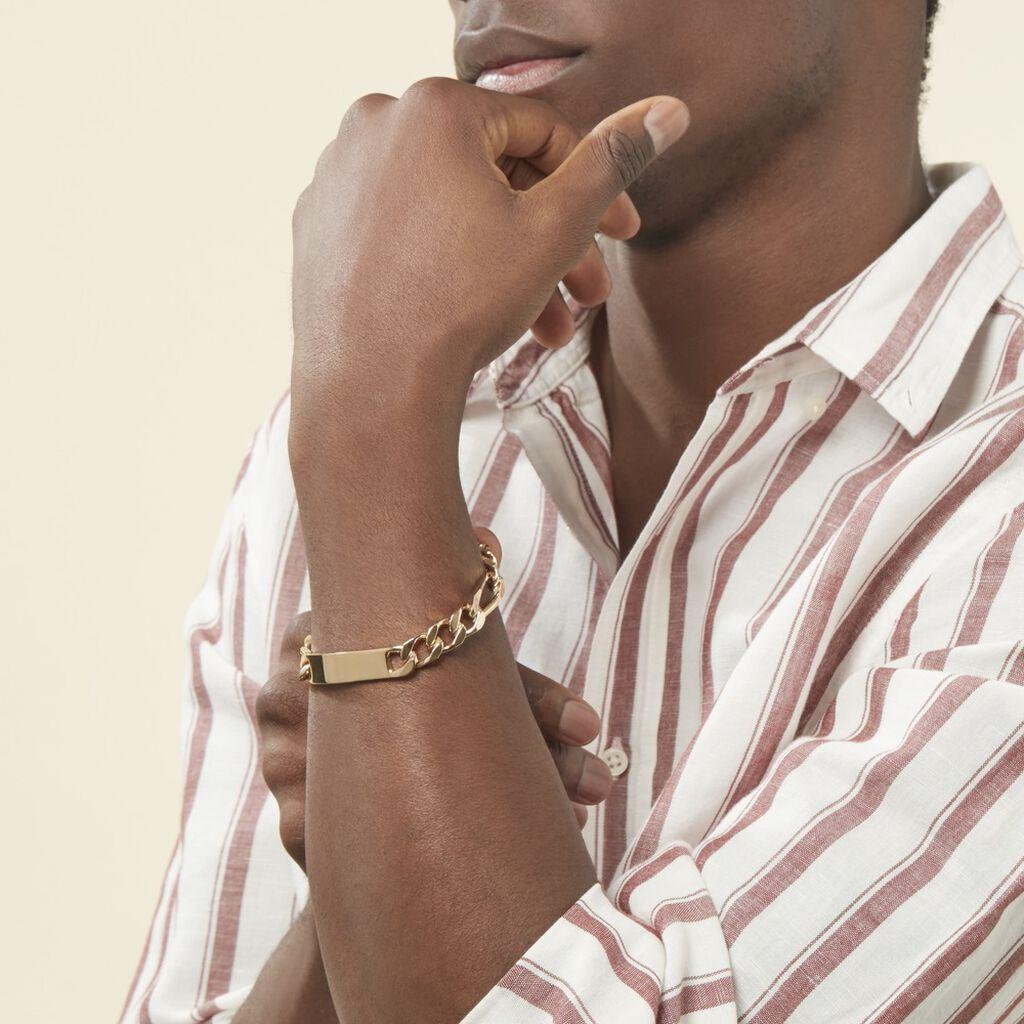 Bracelet Identité Bixente Maille Alternee 1/3 Plaque Or Jaune - Gourmettes Homme   Histoire d'Or