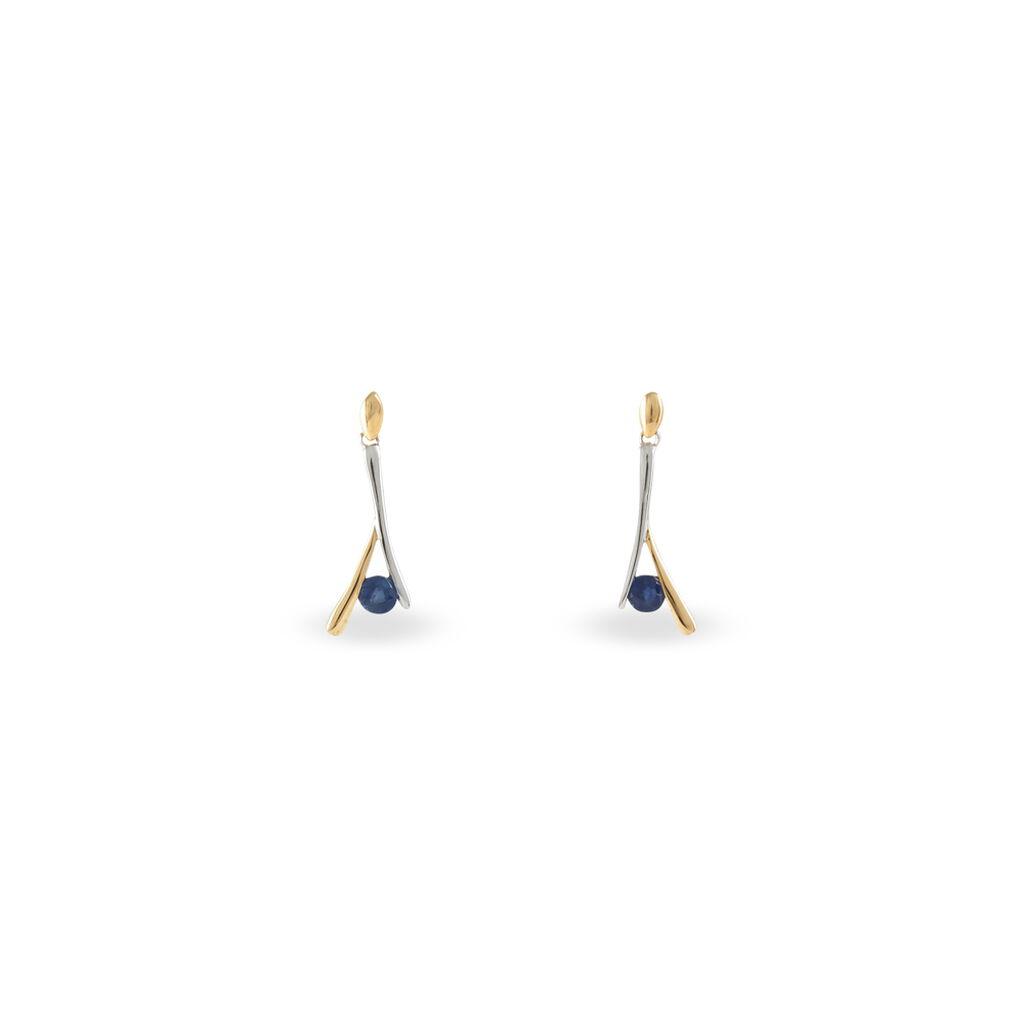 Boucles D'oreilles Pendantes Vayana Or Bicolore Saphir - Boucles d'oreilles pendantes Femme   Histoire d'Or