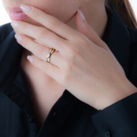 Bague Vitoria Plaque Or Jaune Oxyde De Zirconium - Bagues avec pierre Femme | Histoire d'Or
