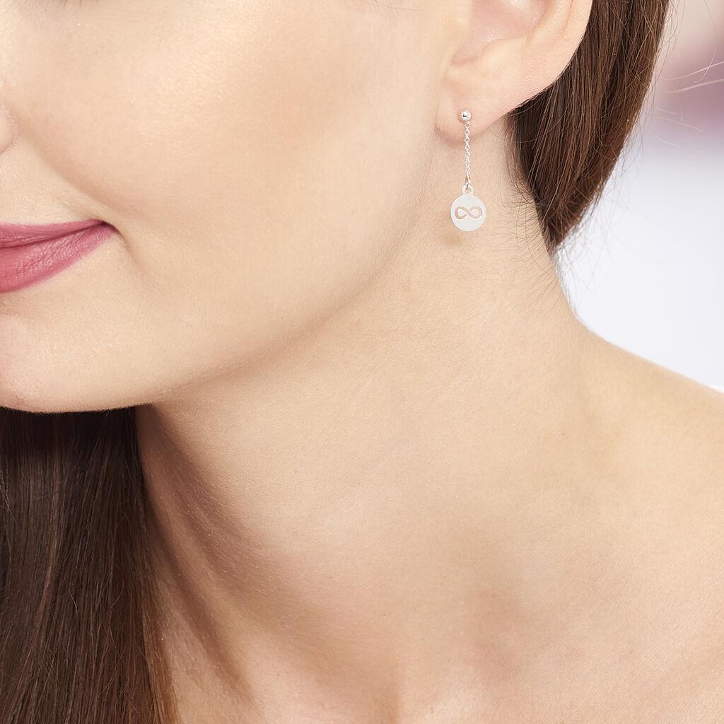 Boucles D'oreilles Pendantes Shereen Argent Blanc - Boucles d'Oreilles Infini Femme | Histoire d'Or