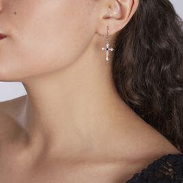 Boucles D'oreilles Pendantes Argent Rhodie Florian Oxydes De Zirconium - Boucles d'Oreilles Croix Femme   Histoire d'Or