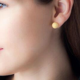 Boucles D'oreilles Puces Martina Argent Jaune - Boucles d'oreilles fantaisie Femme   Histoire d'Or