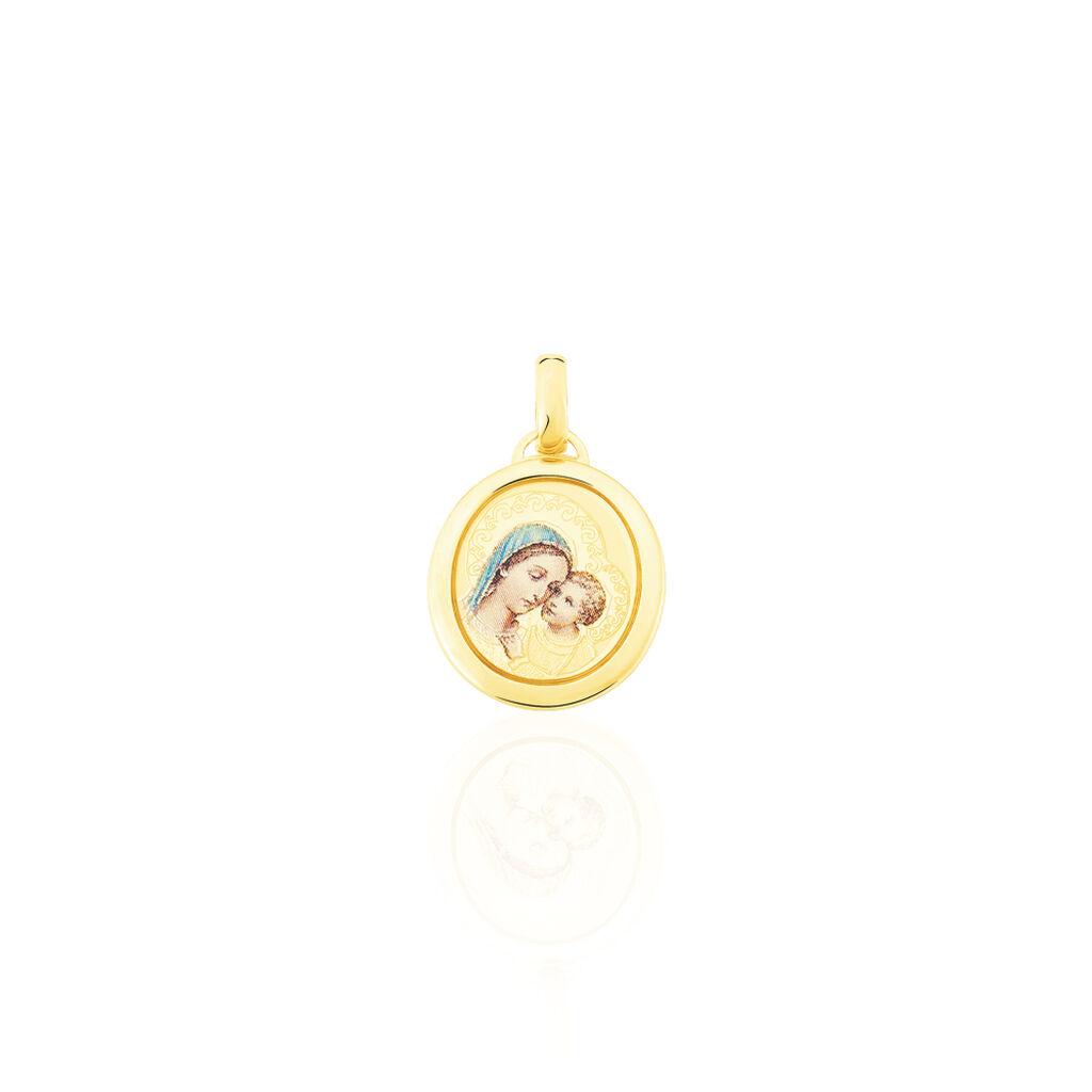 Pendentif Vierge A L'enfant Ovale Or Jaune - Bijoux Vierge Famille | Histoire d'Or