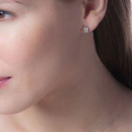 Créoles Seval Rondes Or Blanc Oxyde De Zirconium - Boucles d'oreilles créoles Femme | Histoire d'Or