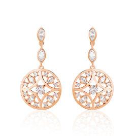 Boucles D'oreilles Pendantes Weena Or Rose Oxyde De Zirconium - Boucles d'oreilles pendantes Femme   Histoire d'Or