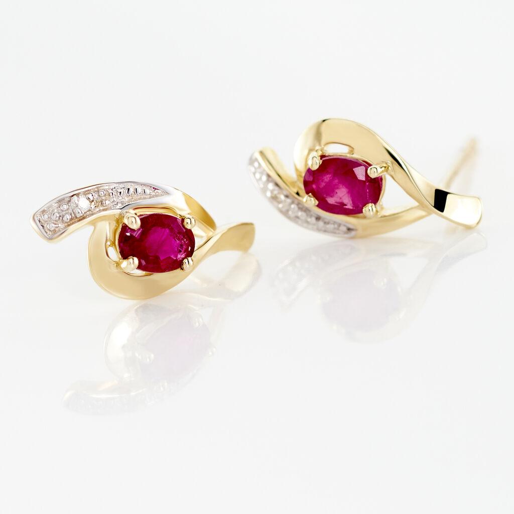 Boucles D'oreilles Puces Sagesse Or Jaune Rubis Et Diamant - Clous d'oreilles Femme   Histoire d'Or