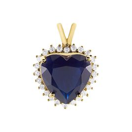 Pendentif Nelsa Plaque Or Jaune Oxyde De Zirconium - Pendentifs Coeur Femme   Histoire d'Or