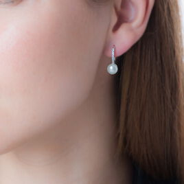 Boucles D'oreilles Pendantes Gwaldys Argent Perle De Culture Et Oxyde - Boucles d'oreilles fantaisie Femme   Histoire d'Or