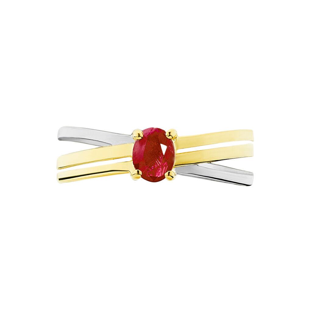 Bague Hannah Or Bicolore Rubis - Bagues avec pierre Femme | Histoire d'Or