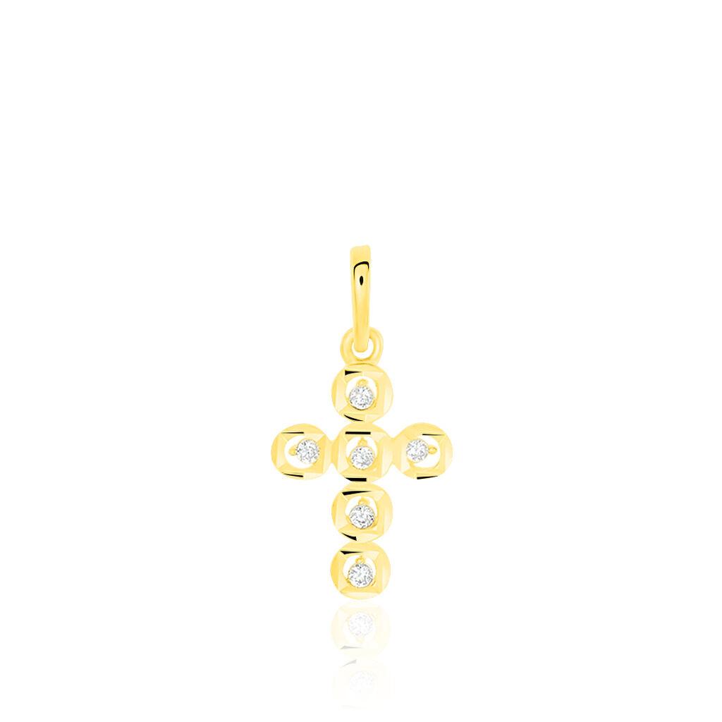 Pendentif Or Jaune Croix Oxydes - Pendentifs Croix Femme   Histoire d'Or