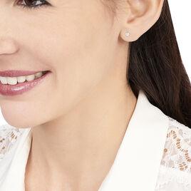 Boucles D'oreilles Or Blanc Puce Oxyde - Clous d'oreilles Femme | Histoire d'Or