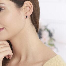 Boucles D'oreilles Puces Elianne Argent Blanc Oxyde De Zirconium - Boucles d'oreilles fantaisie Femme   Histoire d'Or