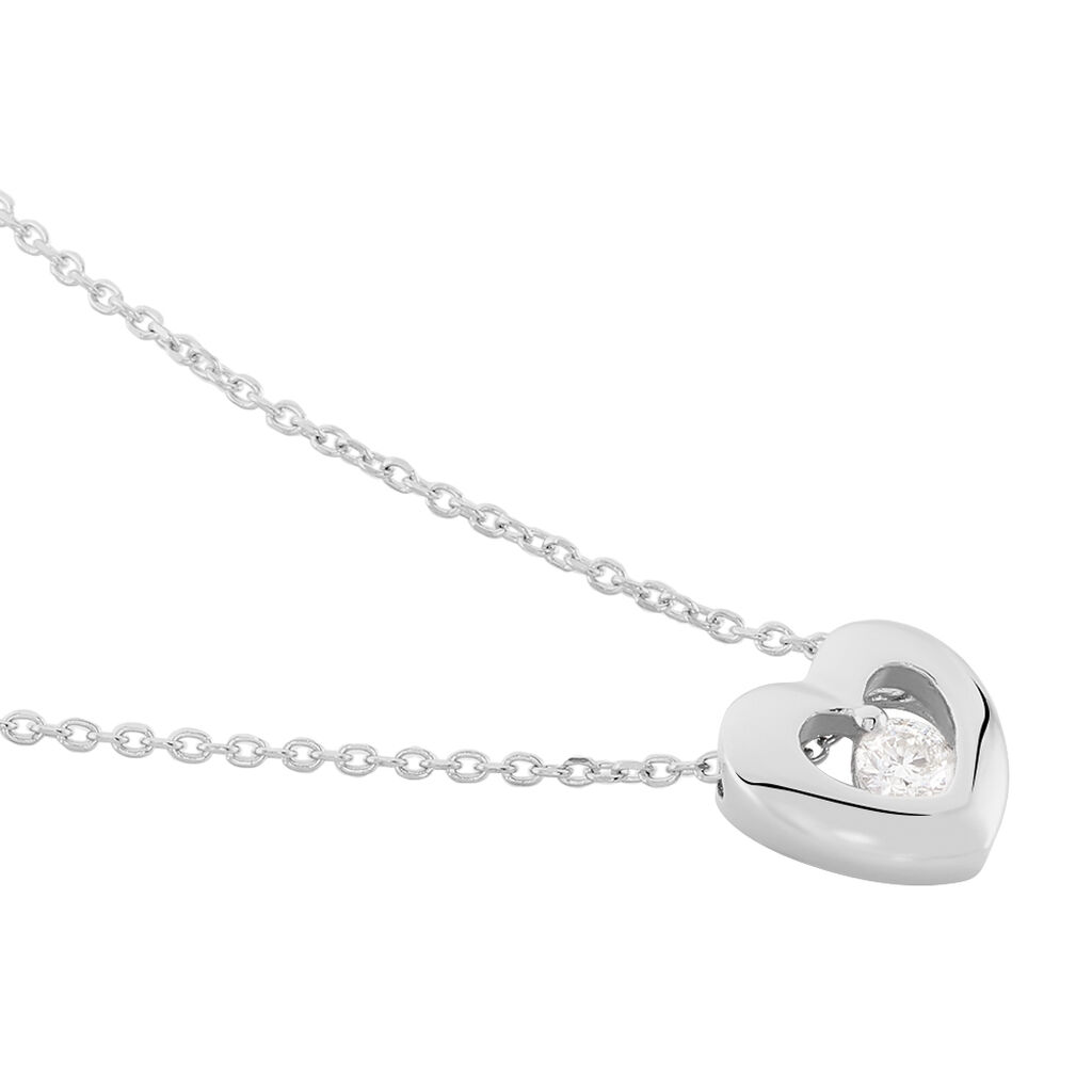 Collier Purete Or Blanc Diamant - Colliers Coeur Femme   Histoire d'Or